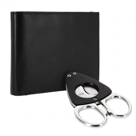 Cigar Cutter and Black Leather Wallet Credo Synchro