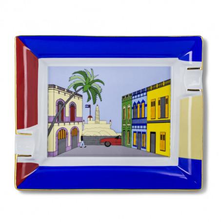 Cendrier Cigare Maison Cubaine Porcelaine Elie Bleu
